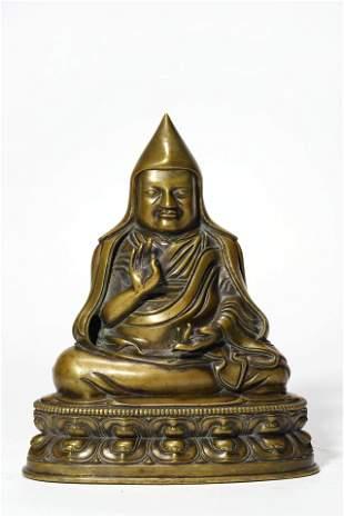 A Copper Alloy Statue Of Guru