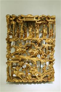 A Carved Gilt Wooden Openwork Ornament