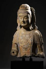 A Carved Stone Buddha Statue Fragment