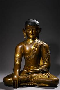A Gilt Bronze Seated Sakyamuni Statue