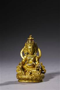 A Gilt Bronze God of Wealth Figurine