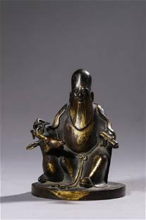 Antique Gilt Bronze Deity Statue