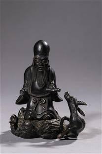 A Bronze Longevity Deity Figurine
