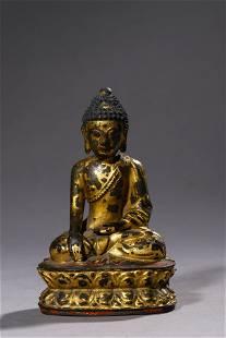 A Gilt Bronze Sakyamuni Buddha Statue