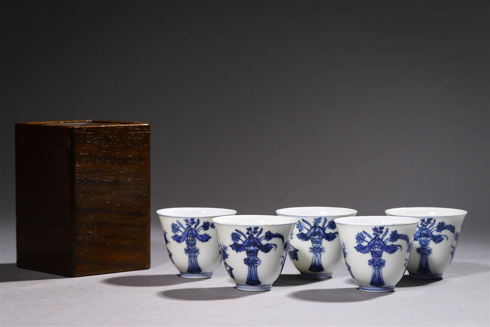 A Group of Five Blue & White Porcelain Cups