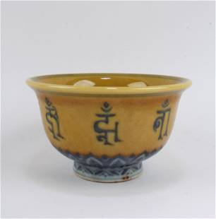 Chinese Fmaille Jaune Porcelain Cup