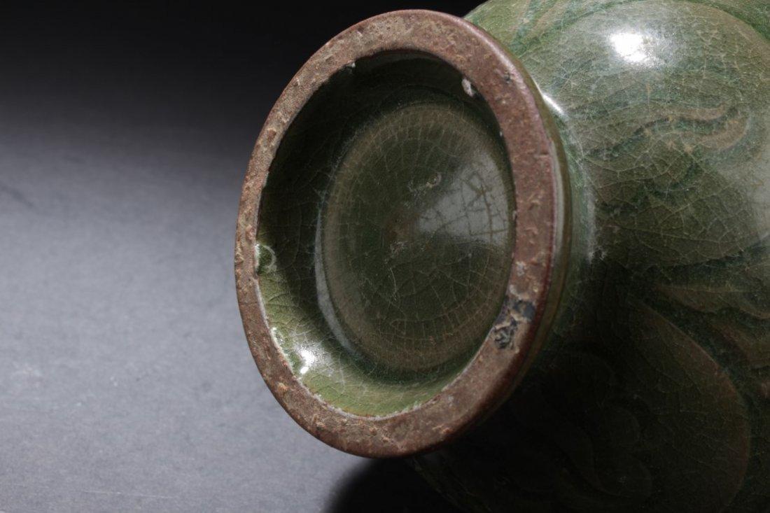Celadon Crackled Jar - 4