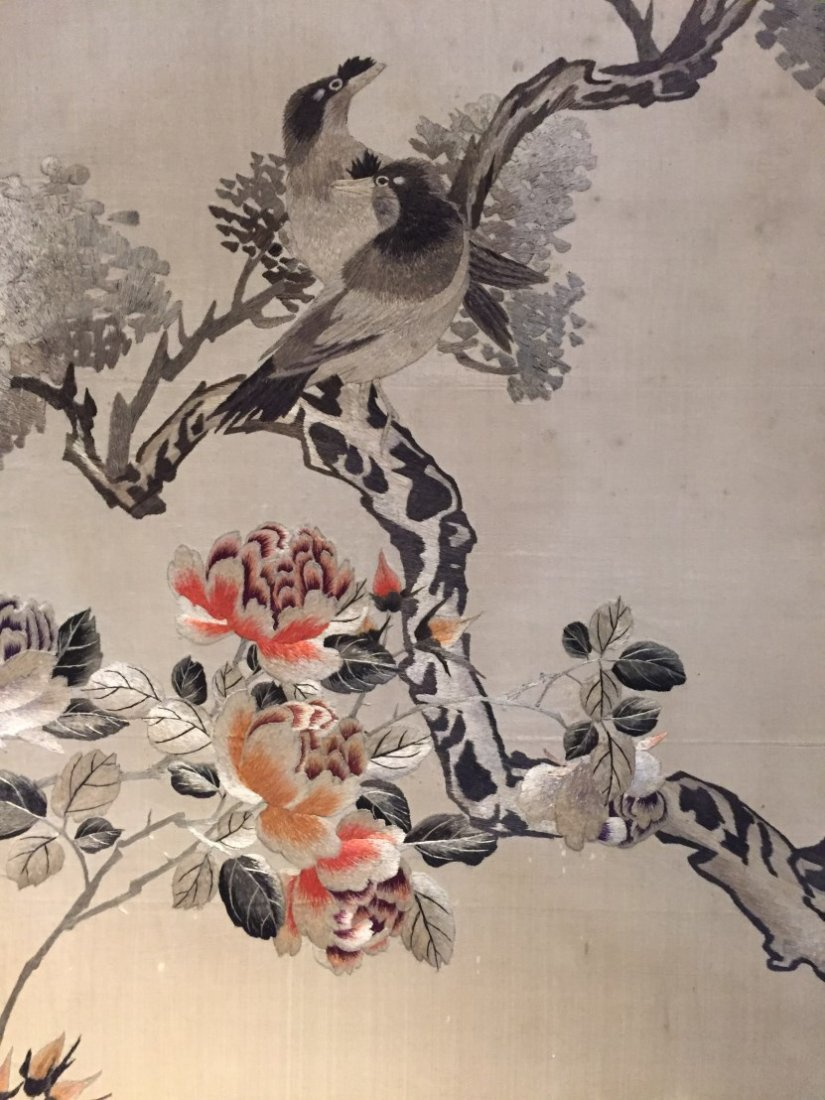 A Pair of Chinese Cloth Embroidery Painting - 2