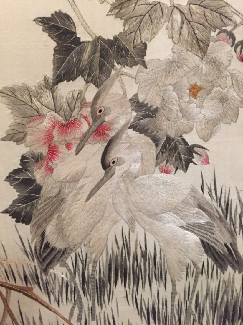 A Pair of Chinese Cloth Embroidery Painting - 3