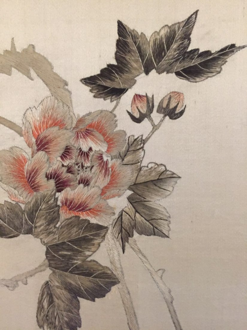 A Pair of Chinese Cloth Embroidery Painting - 5