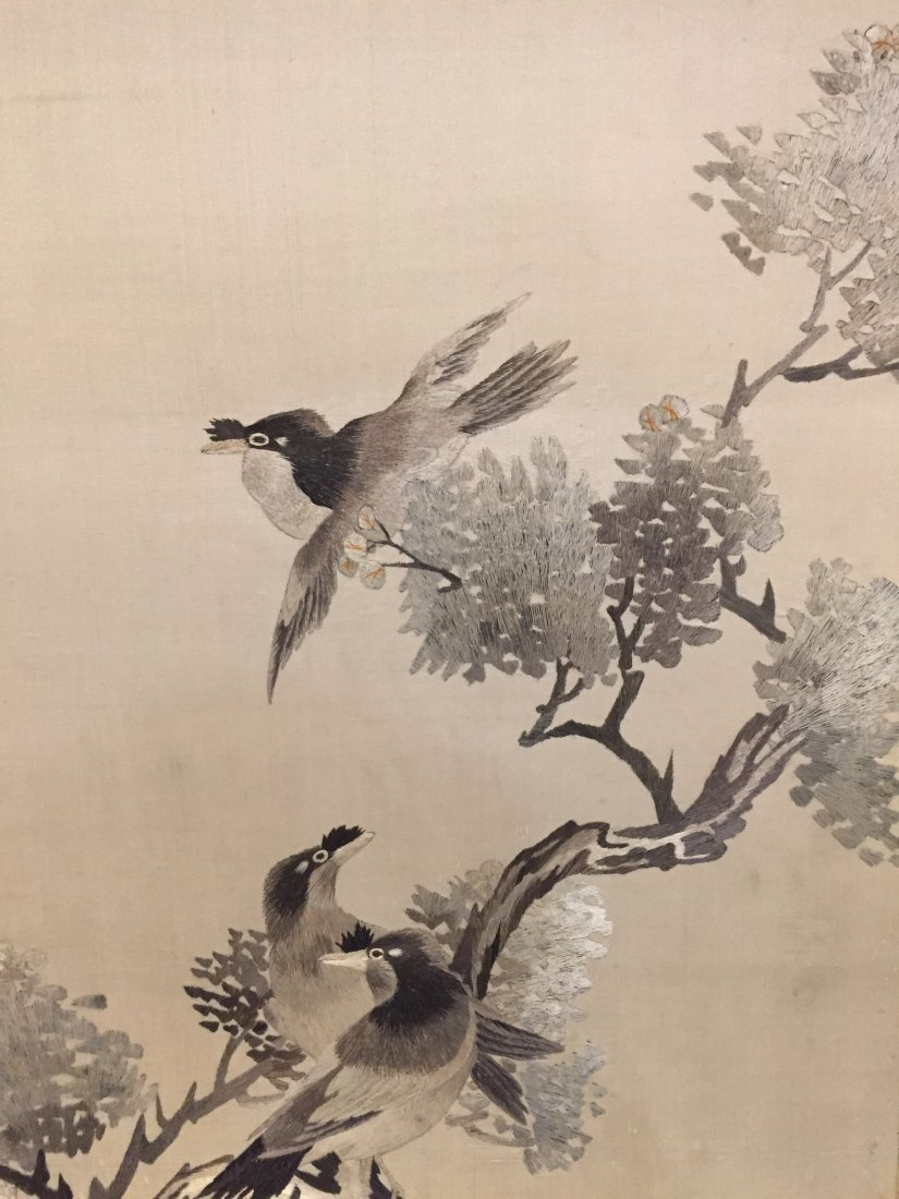 A Pair of Chinese Cloth Embroidery Painting - 6