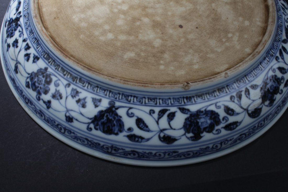 A Large Chinese Blue & White Porcelain Plate - 4