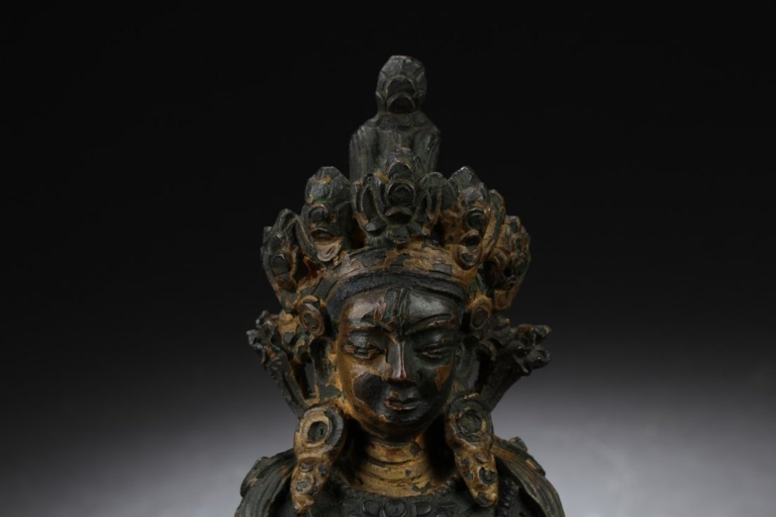 Chinese Gilt Bronze Bodhisattva Statue - 3