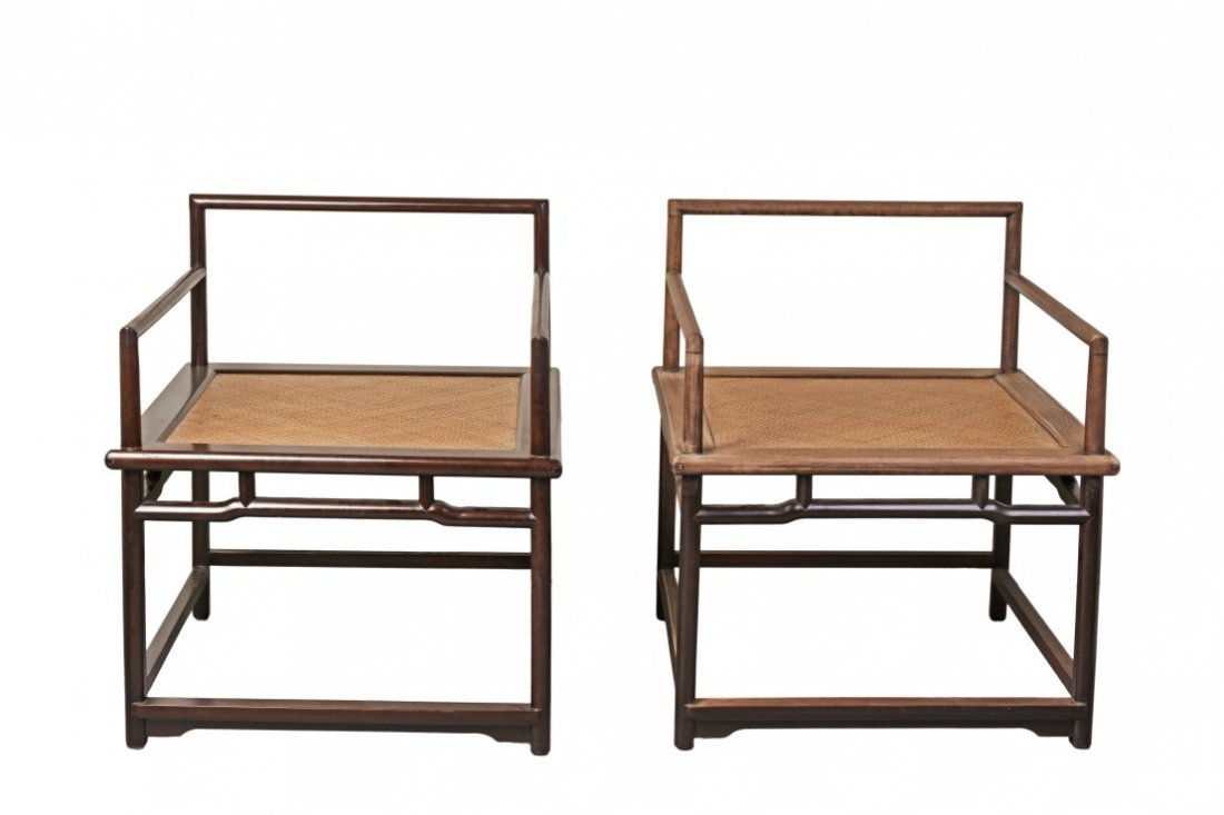 A Pair of Chinese Hardwood Meditation Chairs