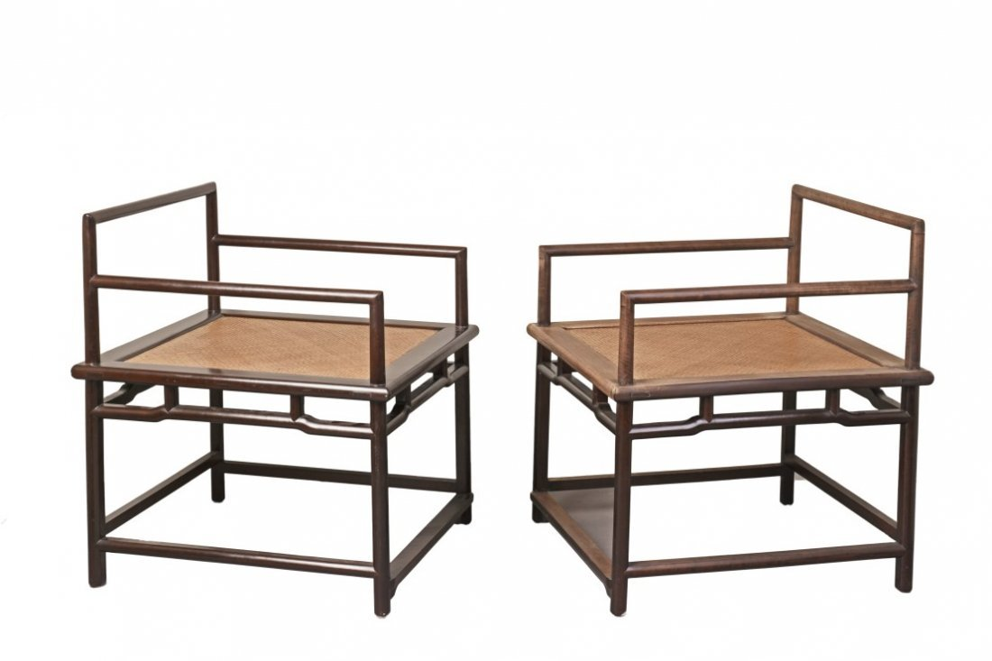 A Pair of Chinese Hardwood Meditation Chairs - 2