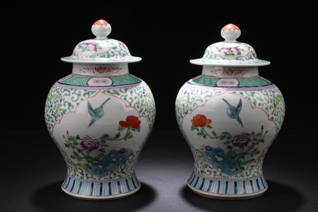 A Pair of Chinese Famille Verte Pocelain Jars