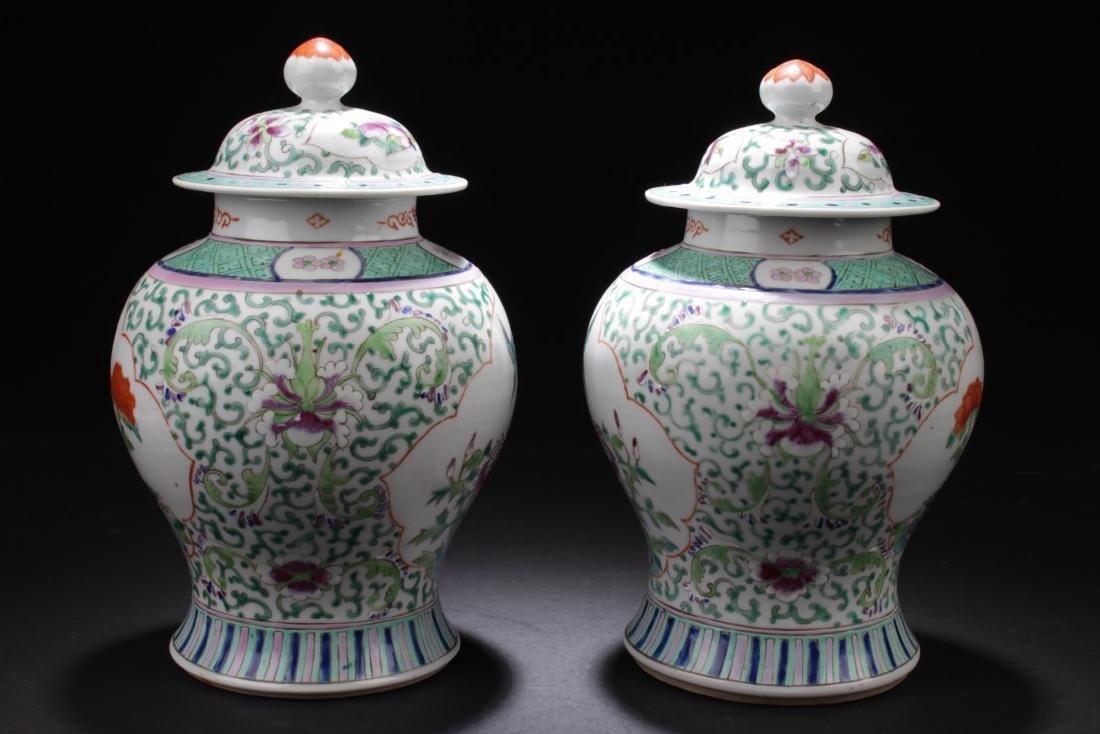 A Pair of Chinese Famille Verte Pocelain Jars - 2