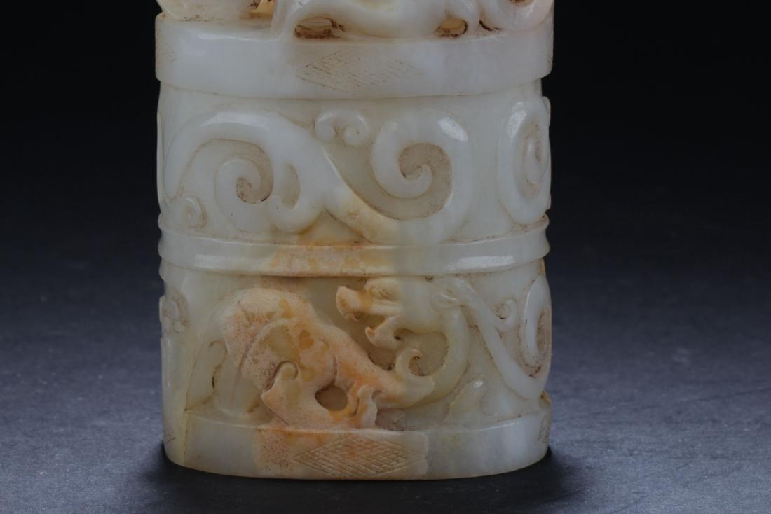 A Tall Chinese Jade Myth-framing Curving Seal - 4