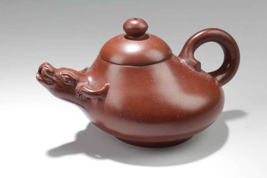 A Chinese Bull-decorating Tea Pot