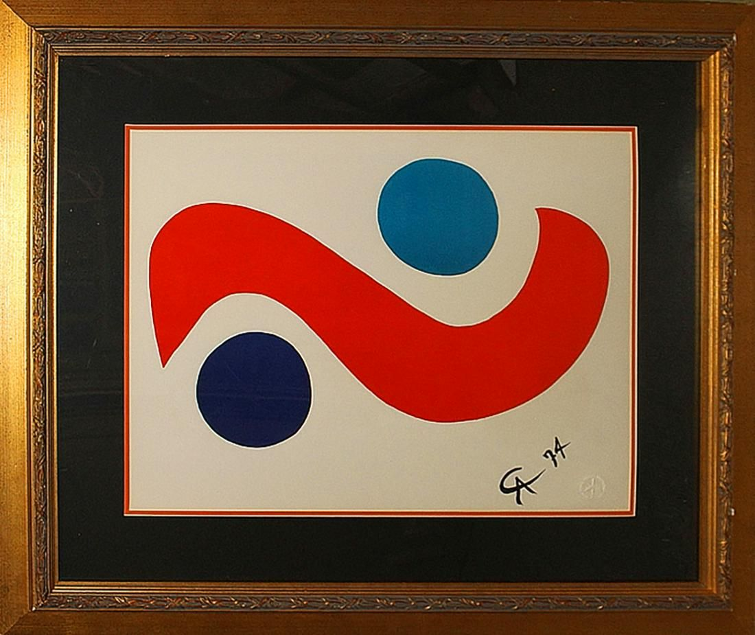 Alexander Calder Lithograph from 1974 initialed Skybird