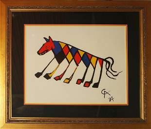 Alexander Calder Original Lithograph Beastie Animal
