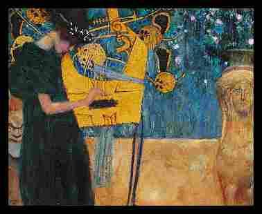Hand embellished After Gustav Klimt ink on Canvas