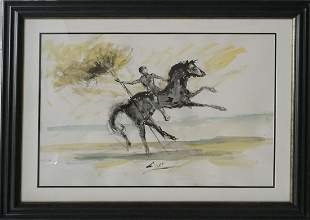 Original watercolor and ink in the manner of Salvador