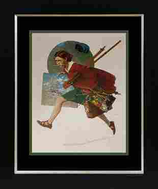 Norman Rockwell Lithograph Wet Paint