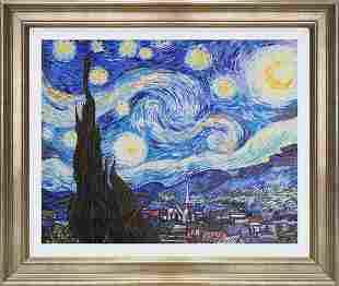 Hand embellished canvas after Vincent Van Gogh Starry