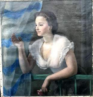 Lady with Blue and White Curtain original oil on canvas