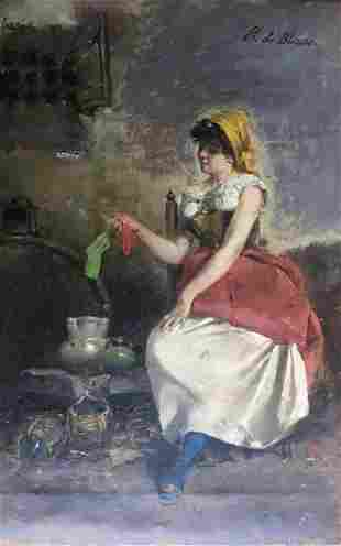 Eugene de von Blaas oil and canvas 28 x 18 cm. p