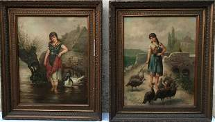L. Graselli Oil on canvas two pieces
