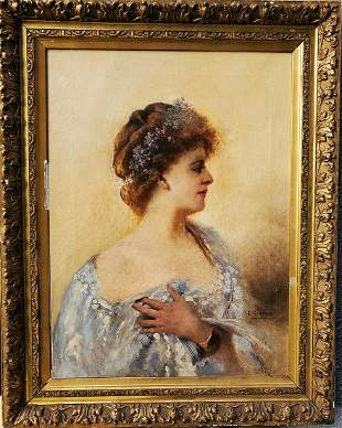 Portrait of an elegant lady by Ernest Giroux French