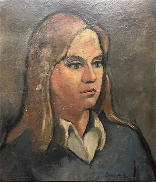 Aldo Bonadei original oil Portrait