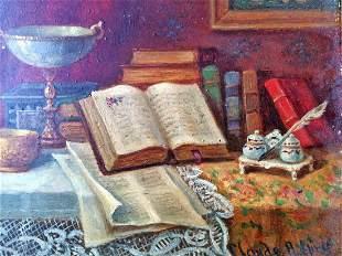 Claude Raquet Original Oil on canvas Still Life circa