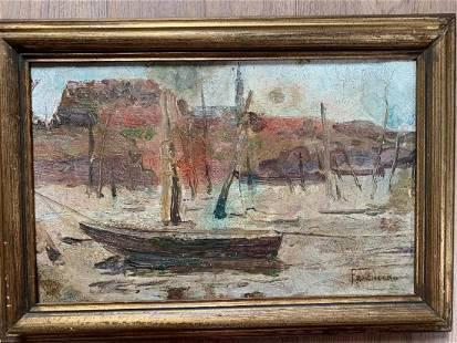 Original oil by Pietro Fragiacomo Venice Marina