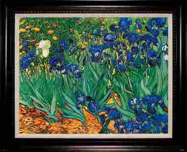 After Van Gogh The Irises hand Embellished on Canvas