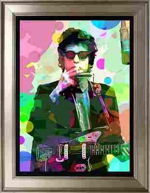 Bob Dylan in his Studio Mixed media original on canvas
