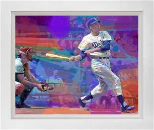 Duke Snider Dodger Blue Mixed Media Original by David