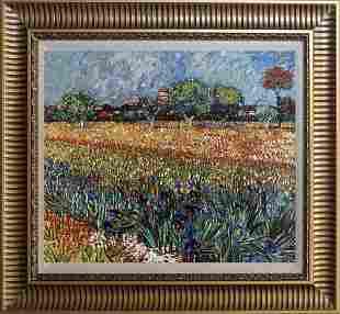 Vincent Van Gogh hand embellished canvas landscape