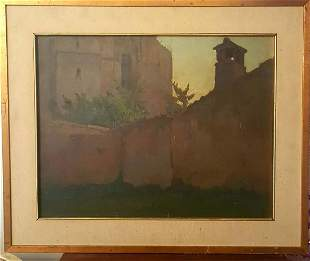 "Old Italian Painting ""Porto del Duomo"" Orvieto artista"