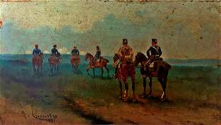 Old Spanish Oil Painting Josep Cusachs Soldiers 1891