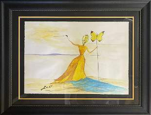 Original watercolor and ink attributed to Salvador