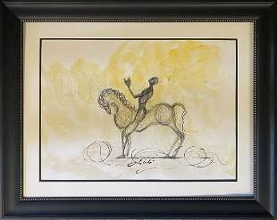 Original watercolor and ink attributed to Salvador Dali