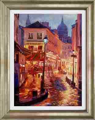 Le Consulate Montmartre Hand embellished canvas by
