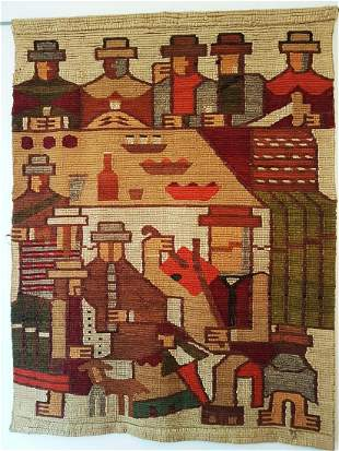 Mexican Tapestry from 1960 Hand woven wool