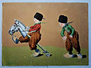 Old & Rare Painting children playing. Signed without
