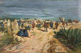 OLD SPANISH PAINTING TANGER 1898 Artist- Mariano