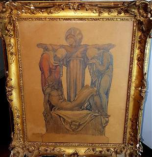 Old religious oil painting drawing illegible signature.