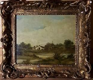 Henri Joseph Harpignies original oil on canvas m